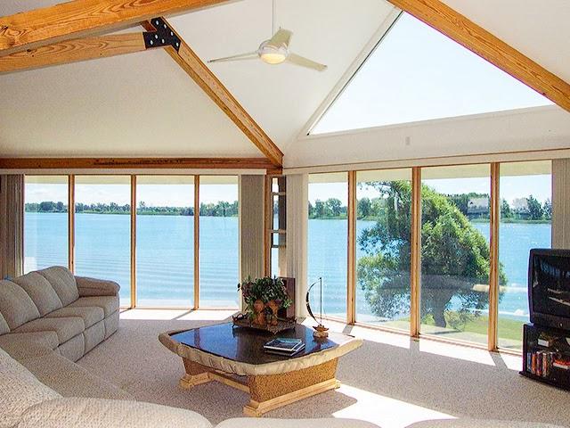 Modern lake house interior