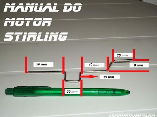 Manual do motor Stirling, medidas do virabrequim feito em raio de bicicleta