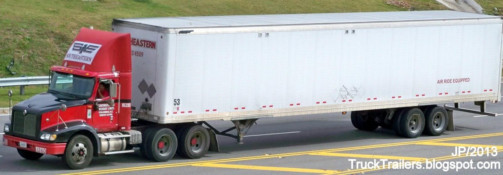 Southeastern freight lines columbia south carolina international day cab truck 53 dry van trailer southeastern freight lines columbia sc