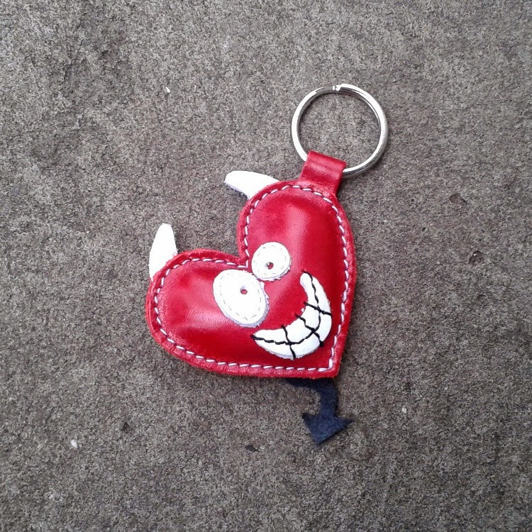 Handmade Red Leather Keychain on Etsy