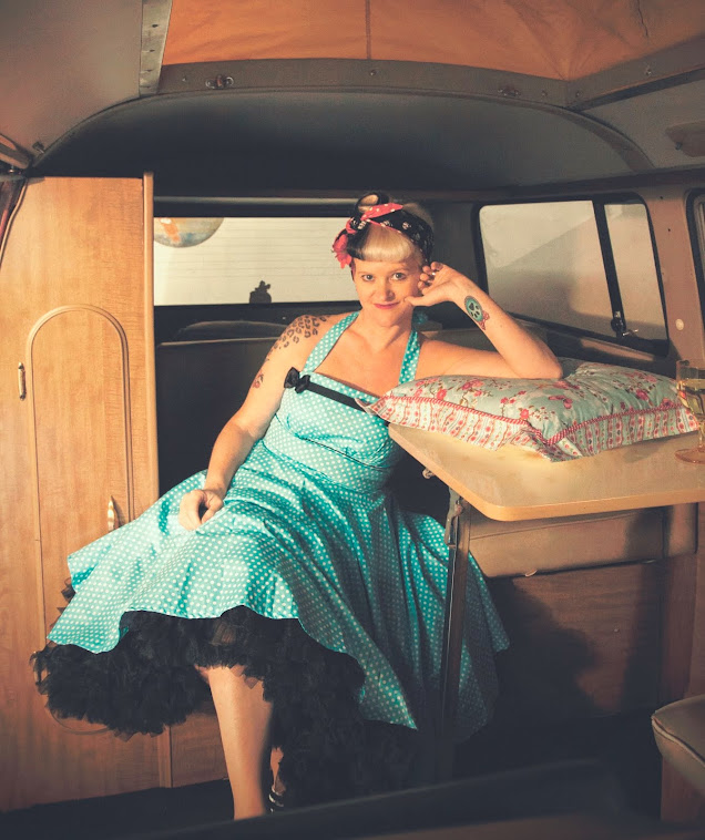 Turquoise polka dot pin-up swingdress