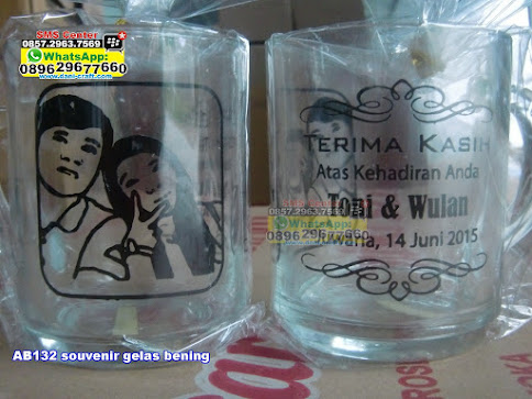 souvenir gelas bening murah