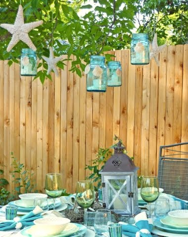 Outdoor decor beach theme room ornament for Outdoor table decor ideas
