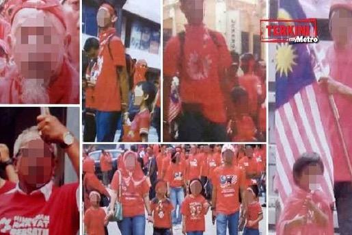 9 Individu bawa budak ke Perhimpunan Baju Merah disiasat
