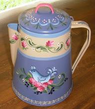 Bluebird & Roses Coffeepot