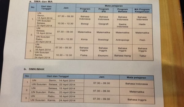 Jadwal Ujian Nasional (UN) SMA/SMK/MA/Sederajat Tahun 2014