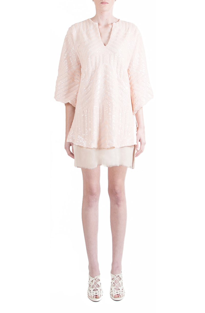 Alyssa Nicole Spring 2015, Sequin Kimono Dress, Blush Sequin Dress, Silk Kimono Dress, Luxury Womenswear Collection