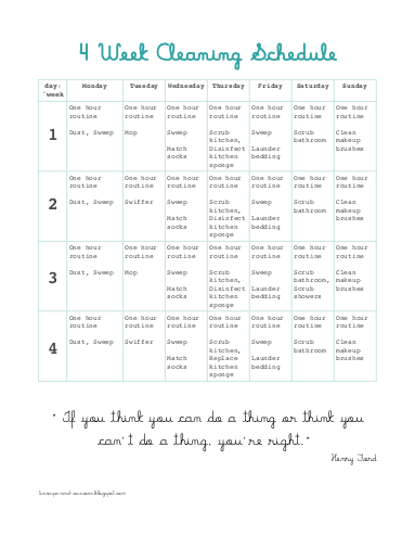 PRINTABLE 4 week cleaning schedule by tinsnips & scissors