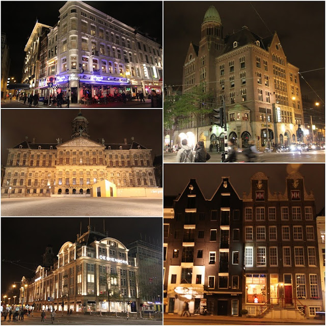 Unique architectural buildings including Royal Palace of Amsterdam under beautiful night light in the downtown of Amsterdam, Netherlands