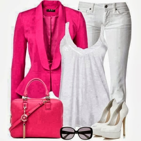 Pink blazer, white blouse and white pants