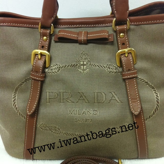 prada brown leather bowler bag - Prada Logo Jacquard Tote BN1841 in Corda Brandy