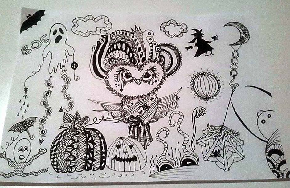 halloween, zentangle, zendoodle, zentangling