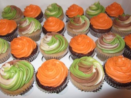 hunter orange and camo colored bridal shower cupcakes