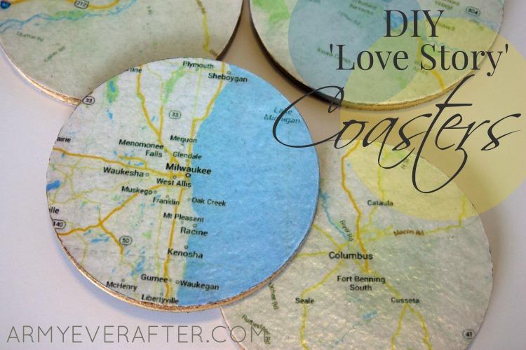 DIY Love Story Map Coasters
