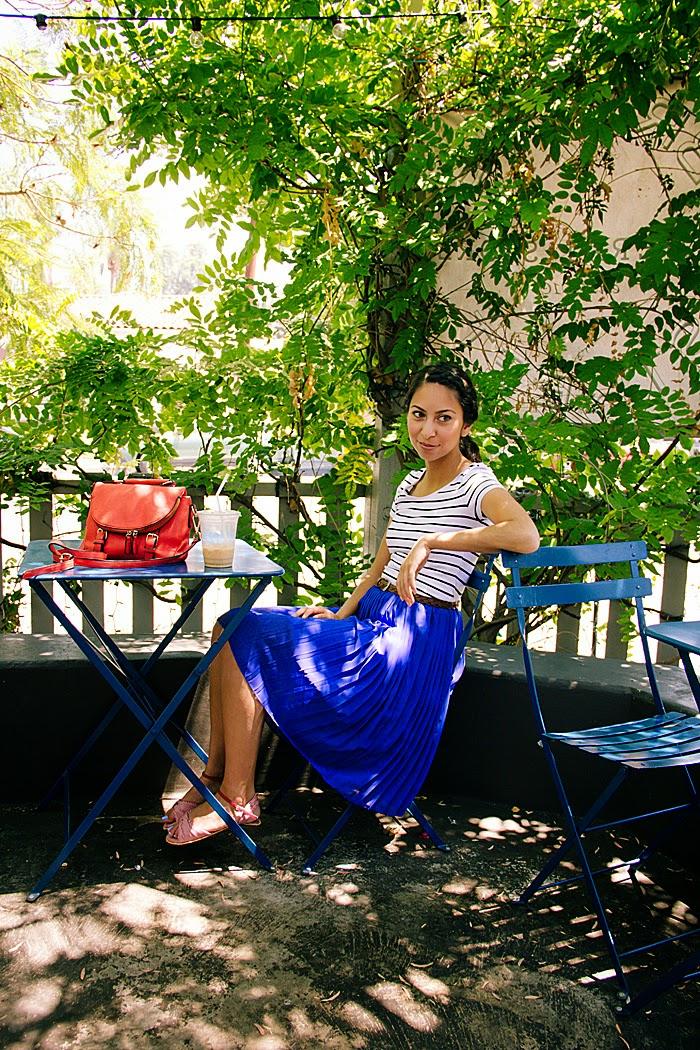 stripe top, blue skirt