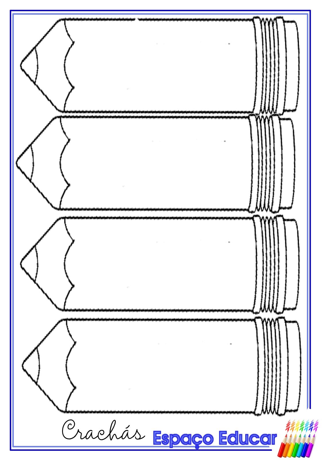 Muito ESPAÇO EDUCAR: Molde de crachá lápis para alfabetização - Molde de  SO23