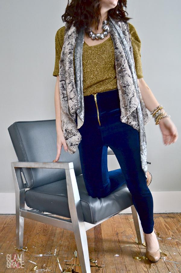 high waisted zip velvet leggings - oversized faux fur vest - sequin scarf
