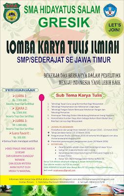 Lomba Karya Tulis Ilmiah Antar SMP/MTs Sederajat Se-Jawa Timur Tahun  2016
