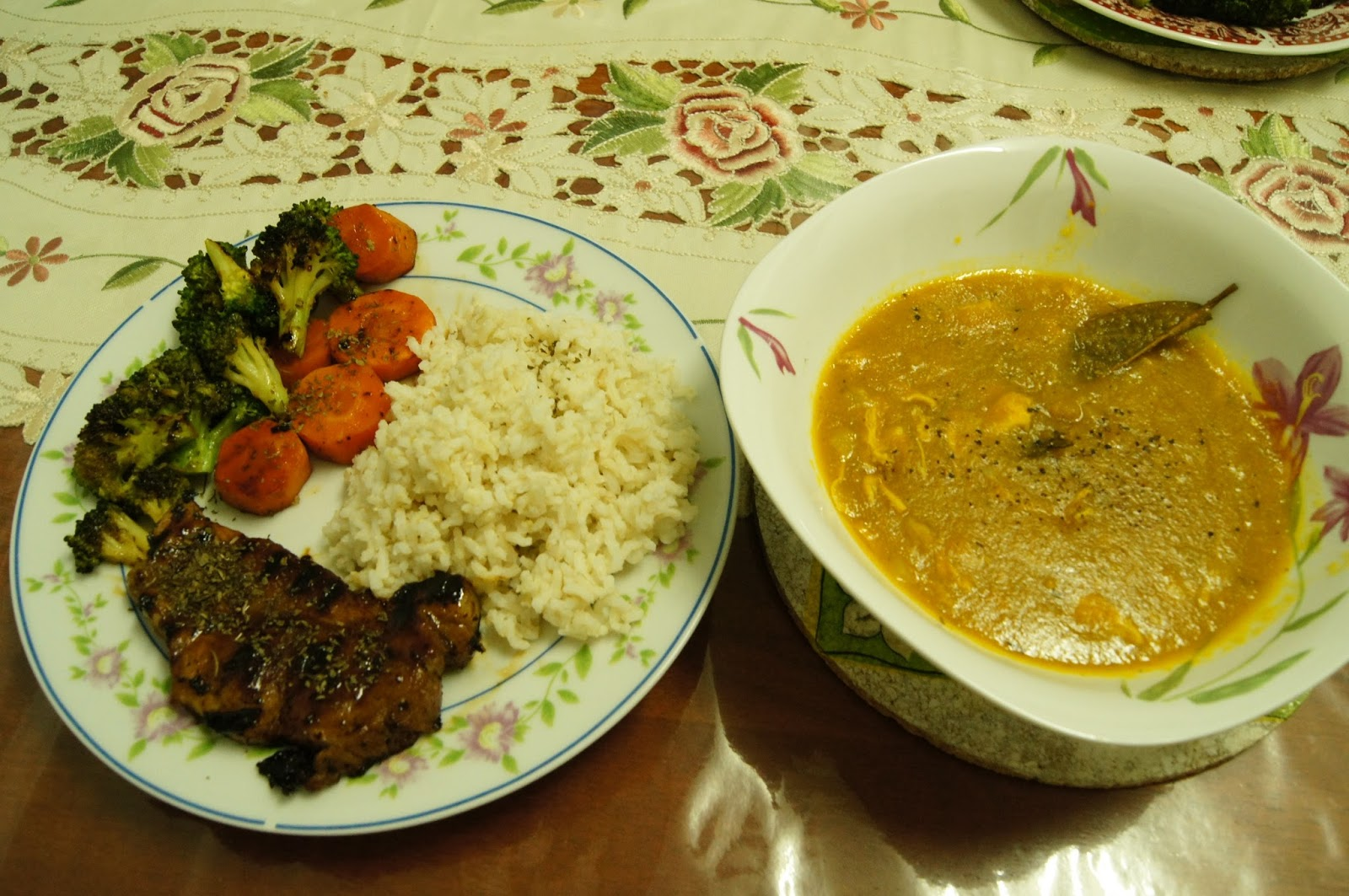 Painted Lips: Grilled pork & vegetables, and pumpkin stew