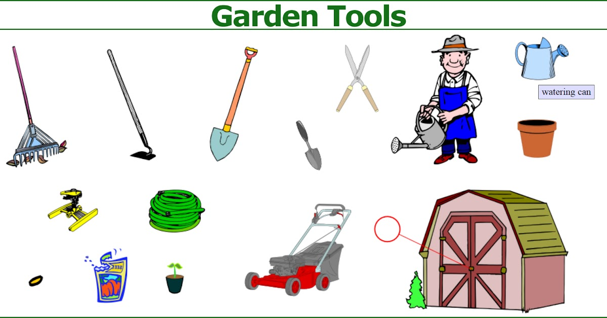 Picture dictionary garden tools english in vancouver for Gardening tools vocabulary