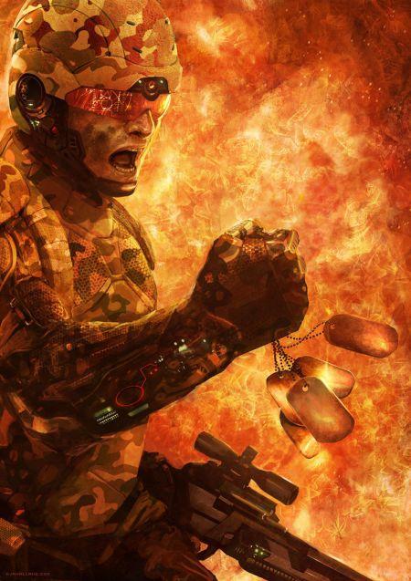 Geoffroy Thoorens djahalland deviantart ilustrações arte conceitual guerras futuristas batalhas tecnologia Soldado sob fogo