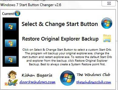 Screenshot Windows 7 Start Button Changer