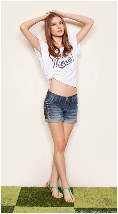 Look con short en denim y remera marca GLoria JEans Wear moda 2014.