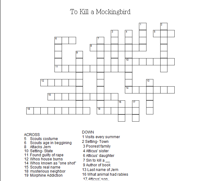 To Kill A Mockingbird Crossword