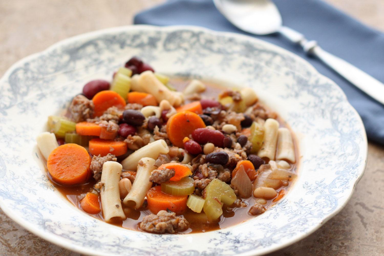Three Bean Minestrone Soup - get the recipe at barefeetinthekitchen.com
