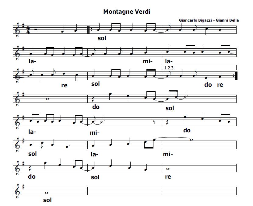 Musica e spartiti gratis per flauto dolce montagne verdi - Aggiungi un posto a tavola accordi ...
