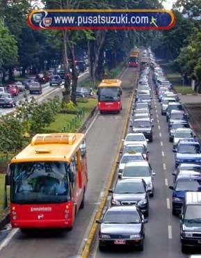 jalan macet mengemudi mobil