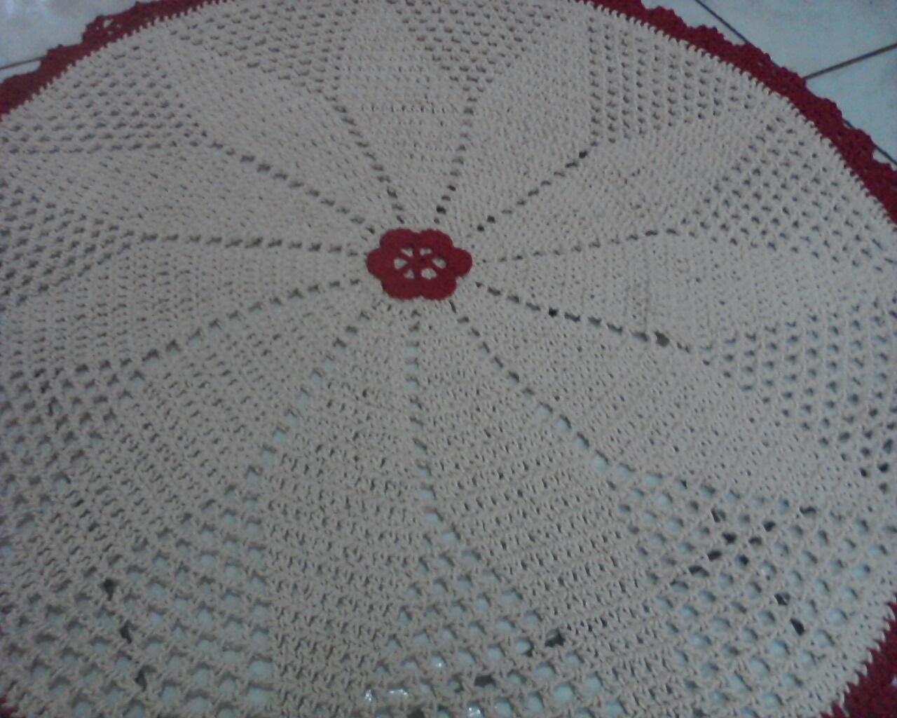 Koizinhas Kon Arty Crochê & Artesanato Tapete de crochê  ~ Tapete Redondo Vermelho Quarto