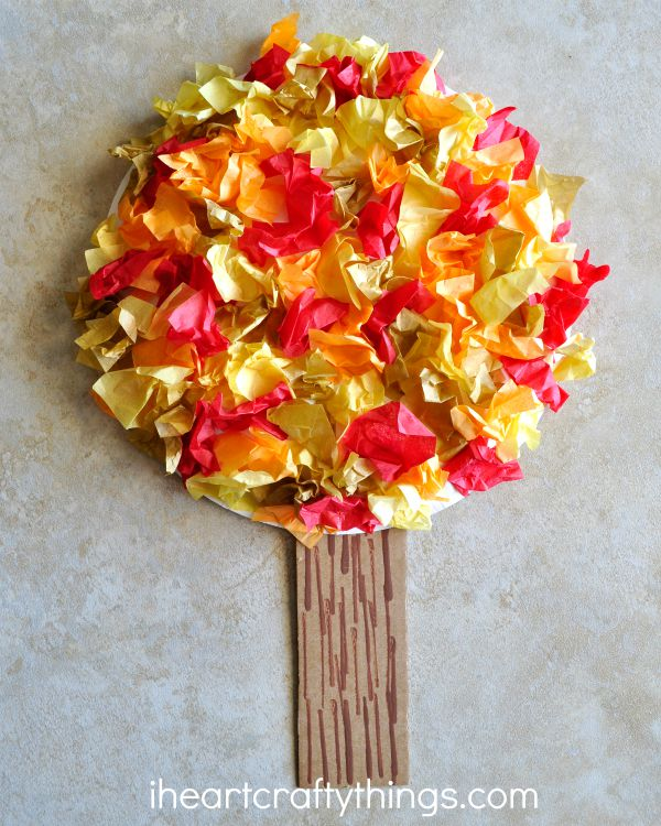 tissue paper fall tree craft i heart crafty things