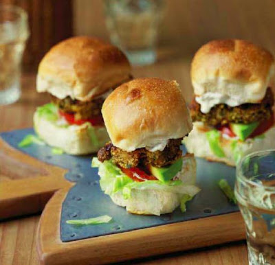 Falafel Chicken Sliders with Sesame and Feta Mayo