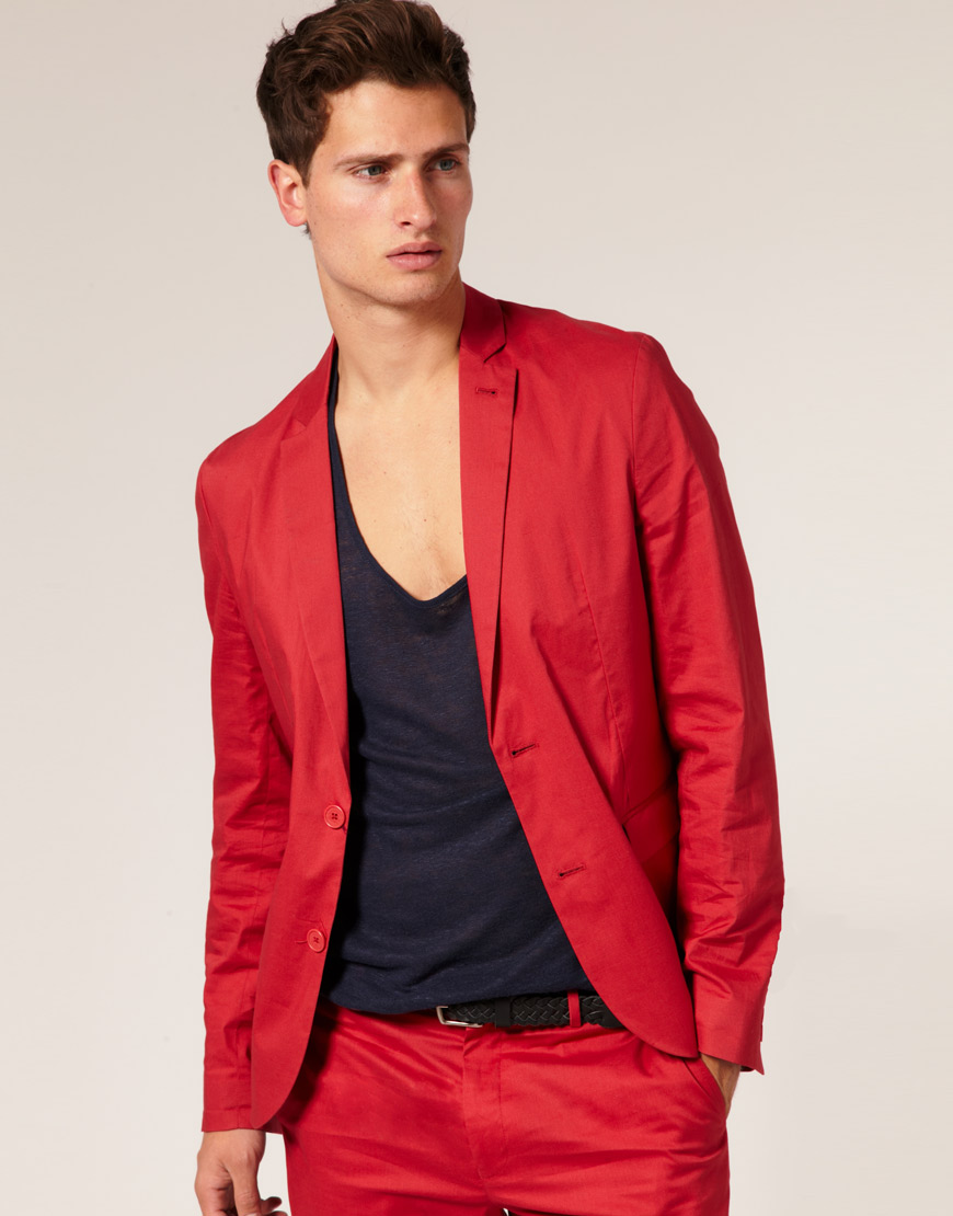 Men's Red Blazer, Polyester *MCL Gold buttons are mailed separately  and must be attached to the blazer when received The blazer will come with 4 buttons and must be replaced with only three. *Blazers are drop shipped from the manufacturing company.