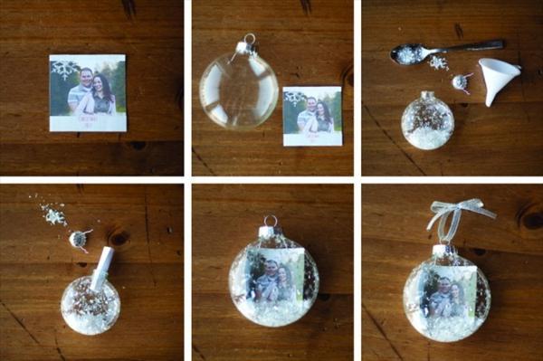 Manualidad con bolas del arbol de Navidad Construccion y