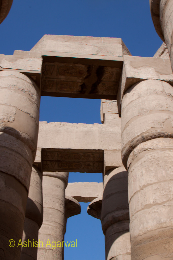 Architrave on top of the pillars of the Hypostyle Hall of the Karnak temple