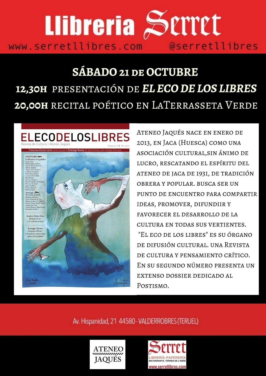 VALDERROBRES (TERUEL): SÁBADO 21 OCTUBRE (12:30 y 20:00)