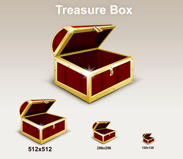 Treasure Box Graphic And Icons PSD