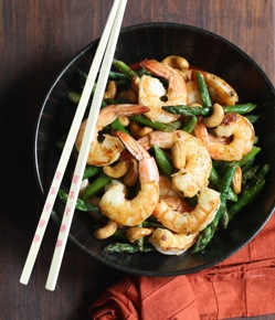butter shrimp stir fry with asparagus recipe