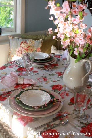 A Very Beautiful Tablecloth And A Simple Setting, Not A Lot Of Stuff On The  Table. My Kitchen In The Morning Is Filled With Sunlight.