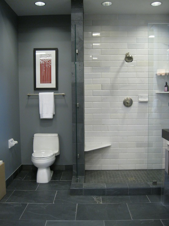 Simple Find This Pin And More On Bathroom Love The Gray Floorwhite Vanity Love The Light Color Of Gray Tiles Gray Tile