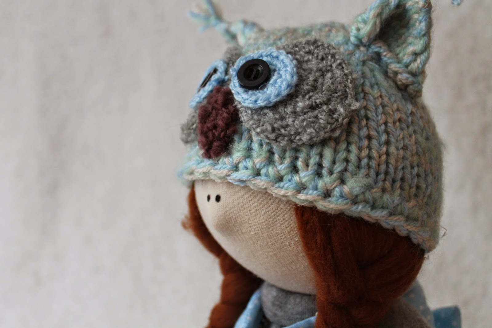 шапка сова, милое вязание, схема спицами
