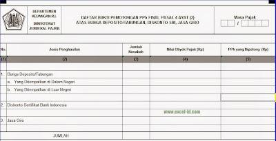 Formulir Daftar Bukti Pemotongan PPh