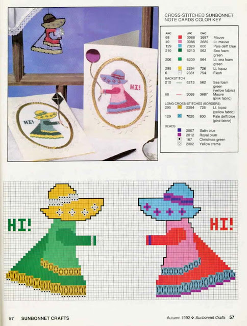Sunbonnet - riscos e ponto cruz.