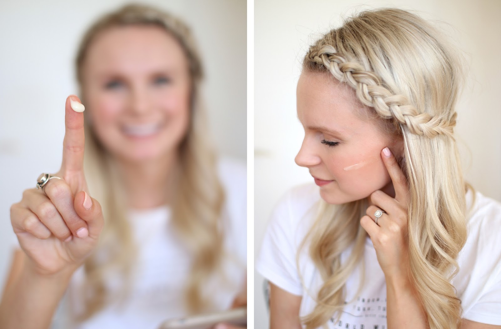 blonde girl with small braid in the front of her hair demonstrates how to apply murad skincare products