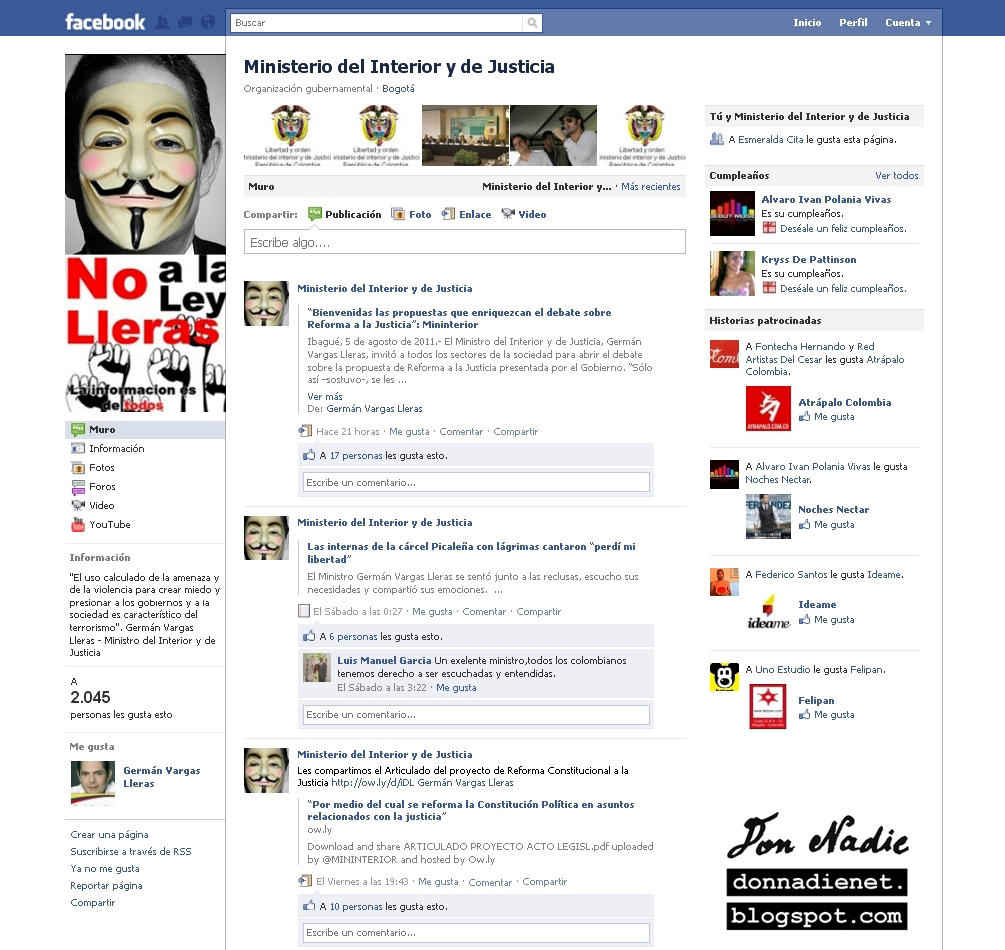 Don nadie anonymous hacke cuentas de facebook de g for Min interior y justicia