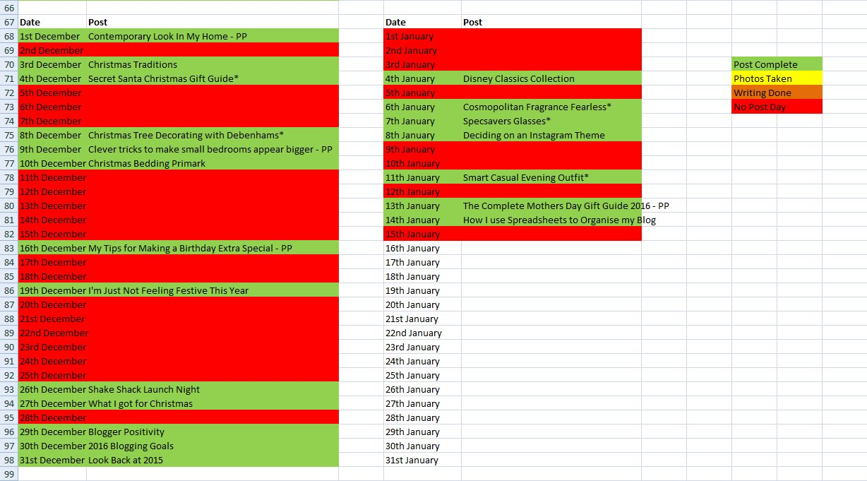 Spreadsheet Blogging Schedule