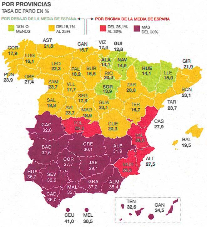 CULTURA ROCKERA 2.0: en Bilbao últimamente las giras no funcionan - Página 12 Desempleo+por+provincias