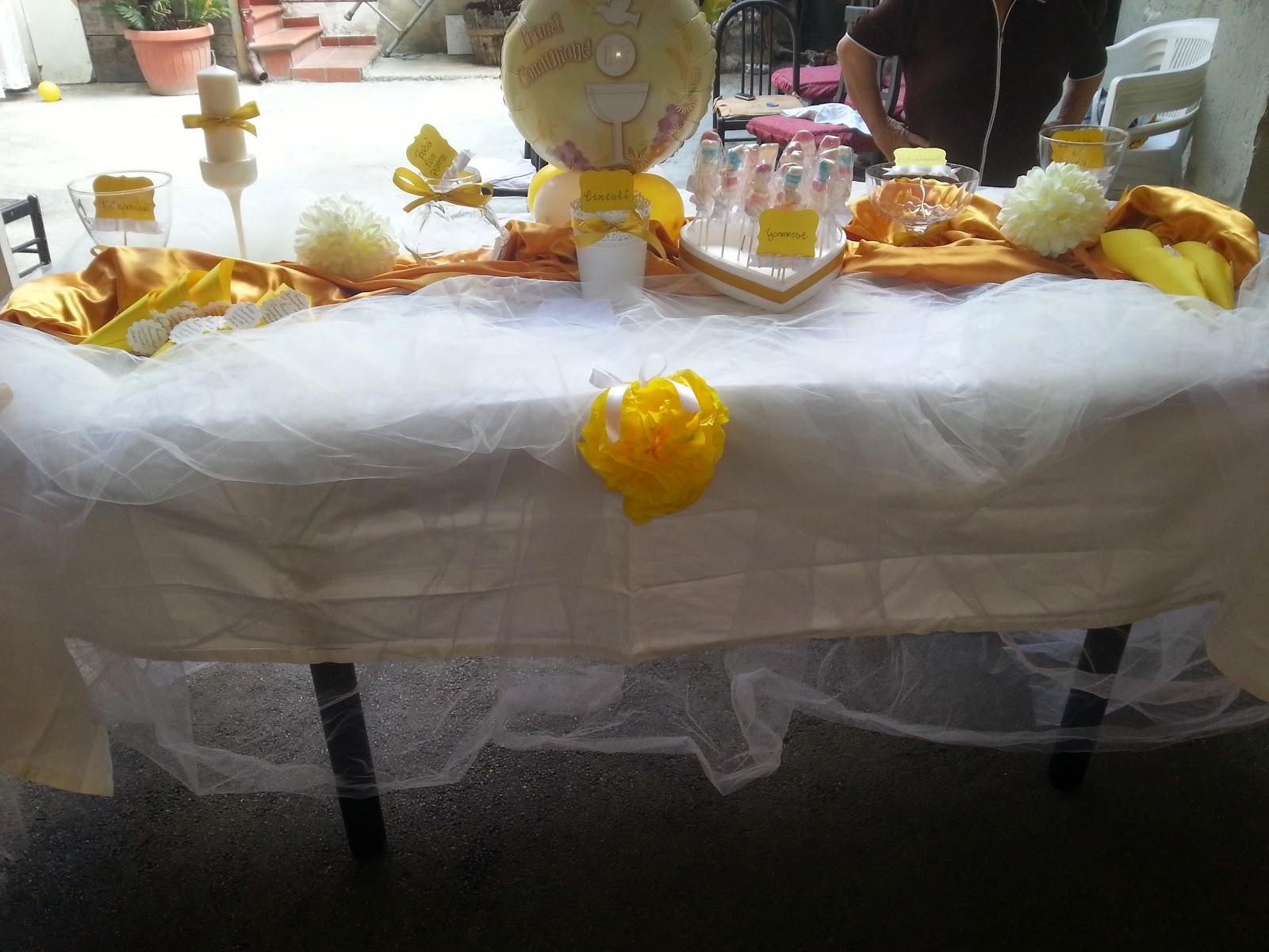 Allestimento prima comunione bianco oro sophie party and - Tavolo per prima comunione ...